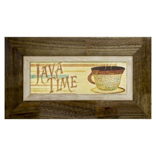Quadro Decorativo Rústico Java Time S/ Vidro 70x40cm