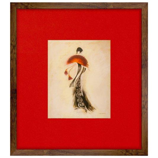Quadro Decorativo Rústico Mulher Leque Vermelho 45x50cm