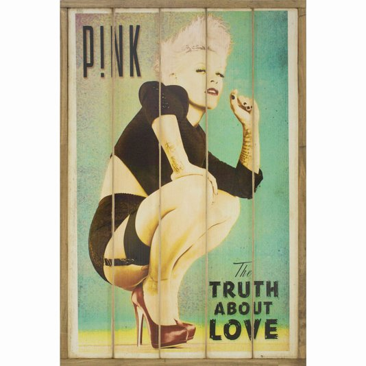 Quadro Decorativo Rústico Pink - The Truth About Love 60x90cm
