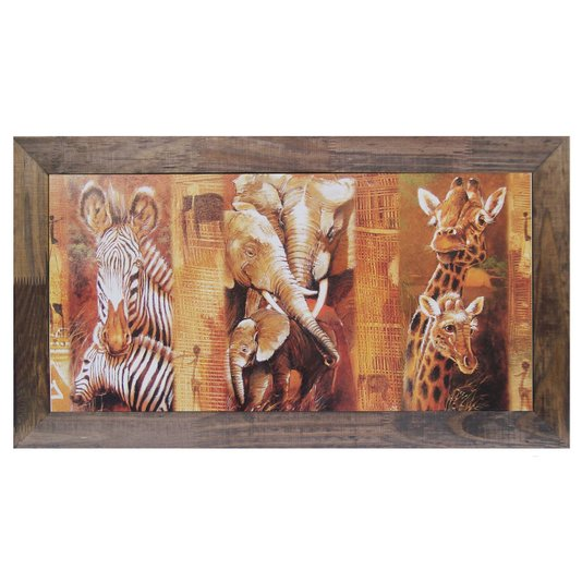 Quadro Decorativo Rústico Zebras Elefantes e Girafas 80x40cm