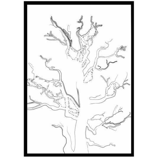 Quadro Decorativo Silhueta de Árvore com Moldura Preta 70x100cm