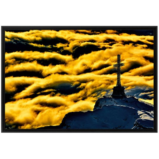 Quadro Decorativo Tela Emoldurada Romênia Cruz dos Heróis 90x60cm
