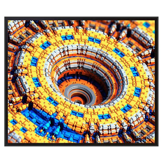 Quadro Decorativo Tela Impressa Emoldurada Abstrato Fractal 95x80cm
