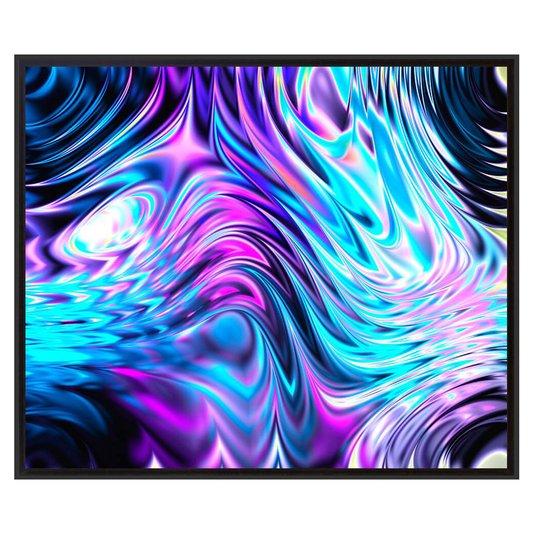 Quadro Decorativo Tela Impressa Emoldurada Abstrato Ondas 95x80cm