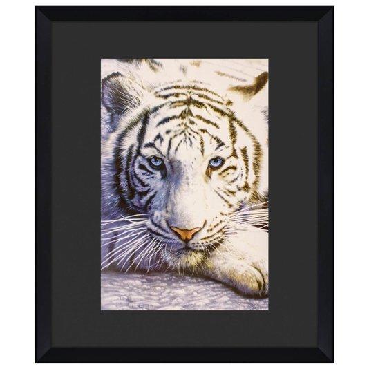 Quadro Decorativo Tigre Branco Moldura Alto Padrão Chanfrada 110x130cm