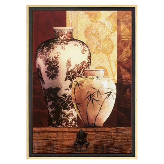 Quadro Decorativo Vasos c/ Pintura Abstrata Impressão Digital em Tela 65x95cm