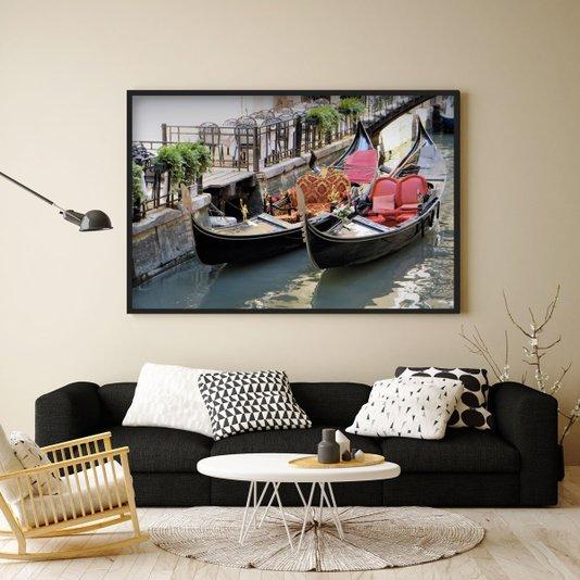 Quadro Decorativo Veneza Barcos 140x100cm
