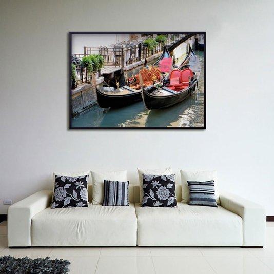 Quadro Decorativo Veneza Barcos Gôndolas 100x70cm