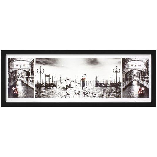 Quadro Decorativo Veneza Itália Casal Apaixonado 90x30cm