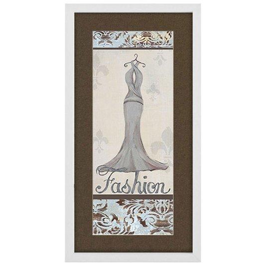 Quadro Decorativo Vestido Branco Fashion 30x60cm