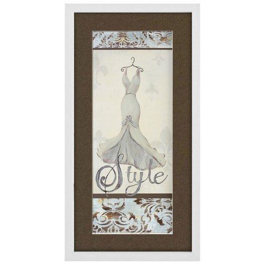 Quadro Decorativo Vestido Branco Style 30x60cm