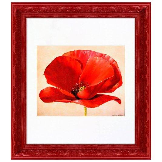 Quadro Decorativo Vintage Flor Pétalas Vermelhas 40x45cm