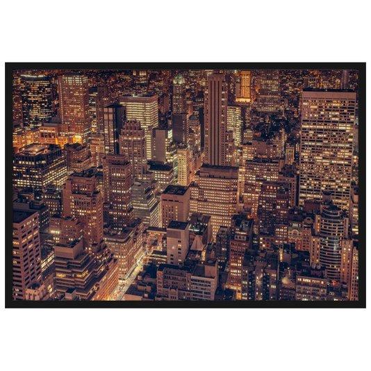 Quadro Decorativo Vista Aérea Edifícios em Nova Iorque à Noite 90x60cm