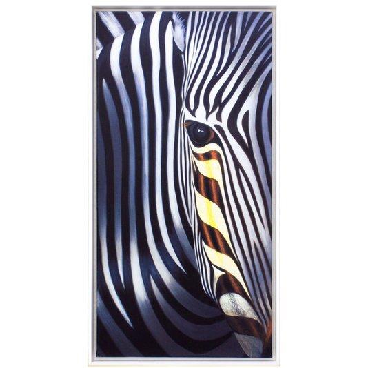 Quadro Decorativo Zebra Impressão Digital em Tela 30x60cm