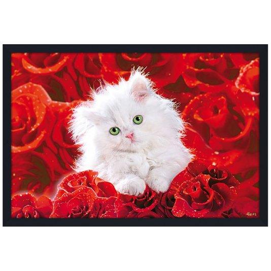 Quadro Decotativo Poster Gato Branco Filhote sobre Rosas Vermelhas s/ Vidro 94x64cm