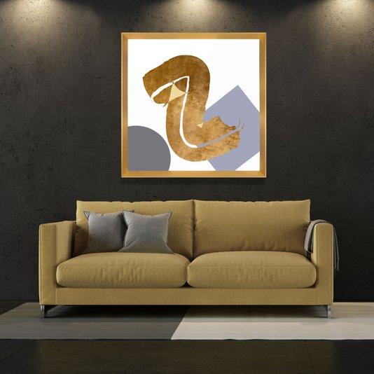 Quadro Dourado Decorativo Arte Moderna Abstrata 75x75cm