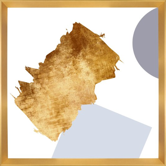 Quadro Dourado Moderno Arte Gold Abstrata 75x75cm