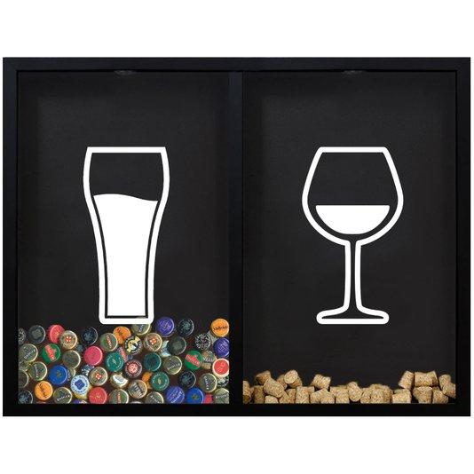 Quadro Duplo Porta Tampinhas e Porta Rolhas Copo e Taça de Vinho 56x43cm