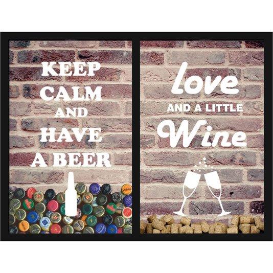 Quadro Duplo Porta Tampinhas Keep Calm e Quadro Porta Rolhas Love And a Little Wine