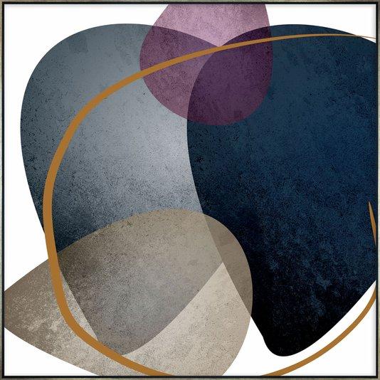 Quadro em Canvas Arte Abstrata com Elementos Orgânicos 100x100 cm