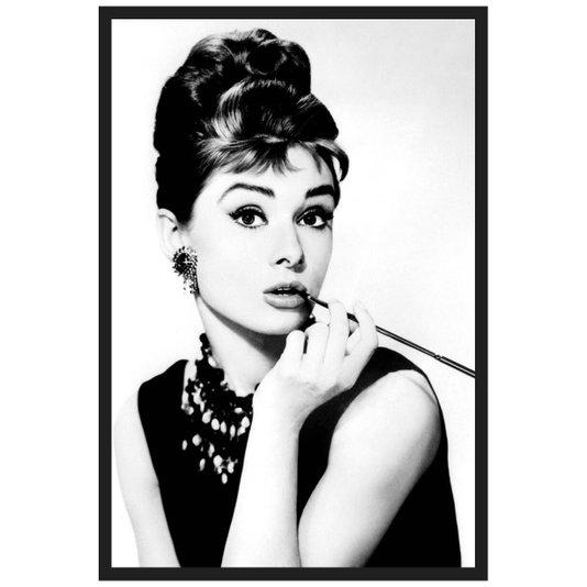 Quadro em Preto e Branco Decorativo Arte Audrey Hepburn 60x90cm