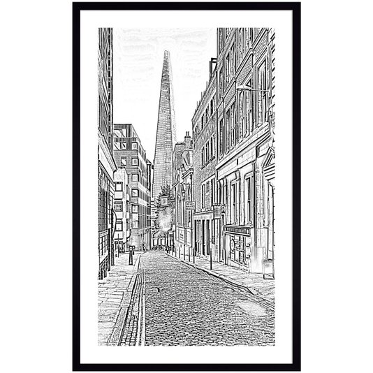 Quadro em Preto e Branco Fotocópia Shard London Bridge 60x100 cm