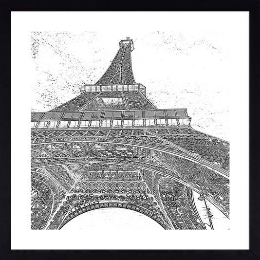 Quadro em Preto e Branco Fotocópia Torre Eiffel 60x60 cm