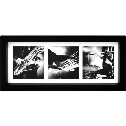 Quadro em Preto e Branco Instrumentos Musicais 55x25cm