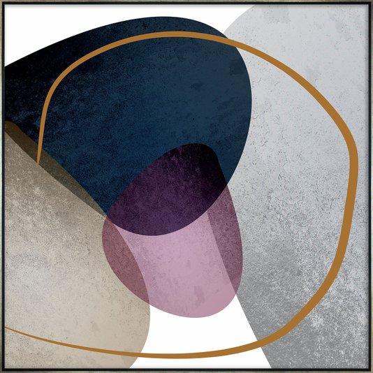 Quadro em Tela Canvas Arte Abstrata com Formas Orgânicas 100x100 cm