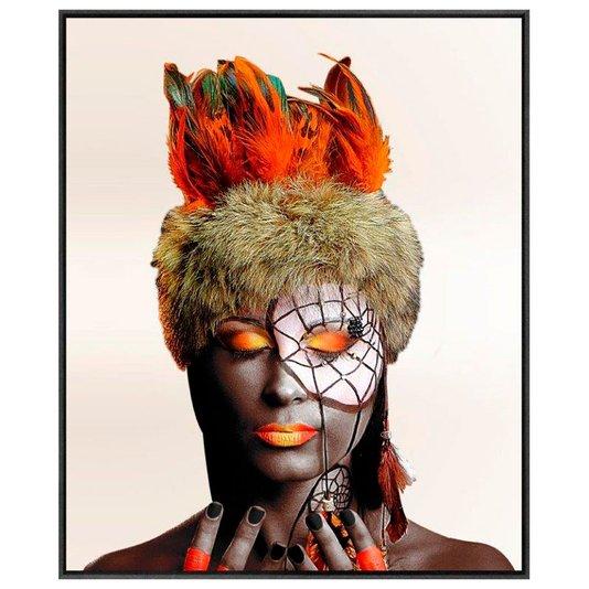 Quadro em Tela Canvas com Moldura Arte Africana 150x180 cm