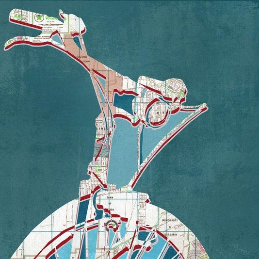 Quadro em Tela Decorativa Bicicleta Mapa Cidade 40x40cm