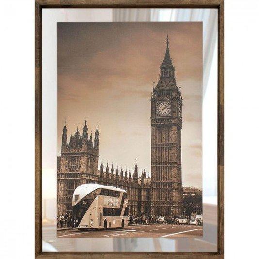 Quadro em Tela Londres Com Espelho e Moldura Rústica