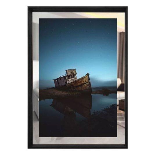Quadro em Tela Paisagem Barco Com Espelho e Moldura Preta 80x110cm