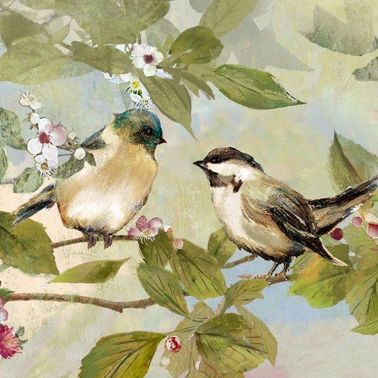Quadro em Tela para Decoração Casal de Pássaros 40x40cm