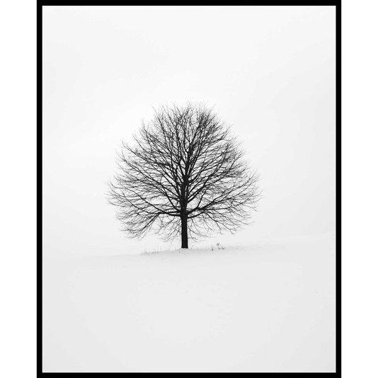 Quadro Escandinavo Natureza Inverno Árvore 80x100 cm