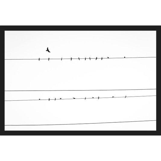 Quadro Escandinavo Pássaros em Fio de Energia 90x60cm