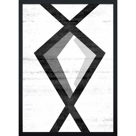 Quadro Escandinavo Preto e Branco Abstrato Geométrico 50x70cm