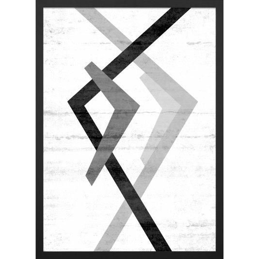 Quadro Escandinavo Preto e Branco Geométrico Abstrato 50x70cm