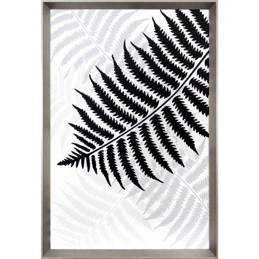 Quadro Floral com Moldura Prata Folha de Samambaia 65x95 Cm
