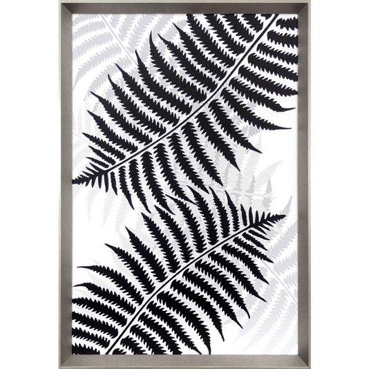 Quadro Floral com Moldura Prata Folhas de Samambaia 65x95 cm