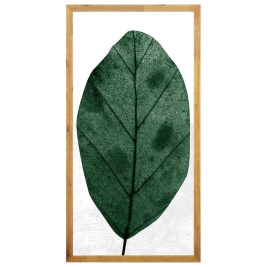Quadro Floral Folha Verde com Moldura Rústica 50x100cm