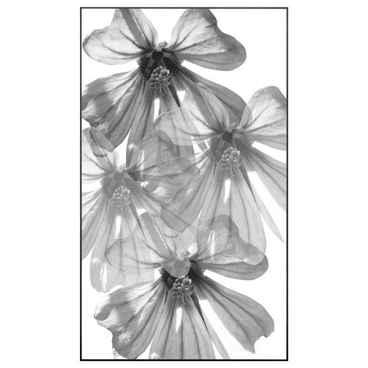 Quadro Floral Grande Flores em Preto e Branco 70x120cm