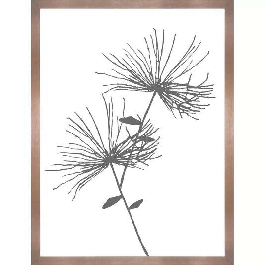 Quadro Floral Minimalista com Moldura Cobre Rosê 60x80 cm