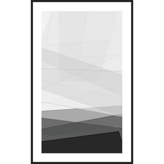 Quadro Geométrico Abstrato em Preto e Branco 80x130cm