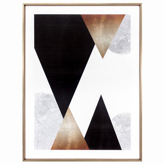 Quadro Geométrico Abstrato Escandinavo Triângulos 60x80cm