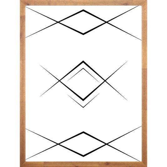 Quadro Geométrico Abstrato Minimalista com Moldura de Madeira 60x80cm