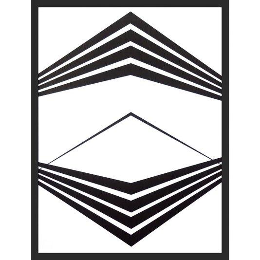 Quadro Geométrico Abstrato Minimalista Preto e Branco 60x80cm