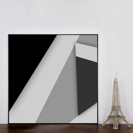 Quadro Geométrico Arte Moderna em Preto e Branco 70x70 cm