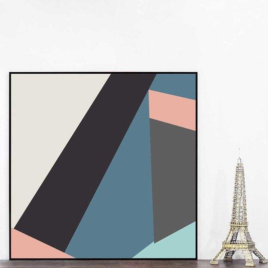 Quadro Geométrico Colorido Arte Moderna 70x70 cm