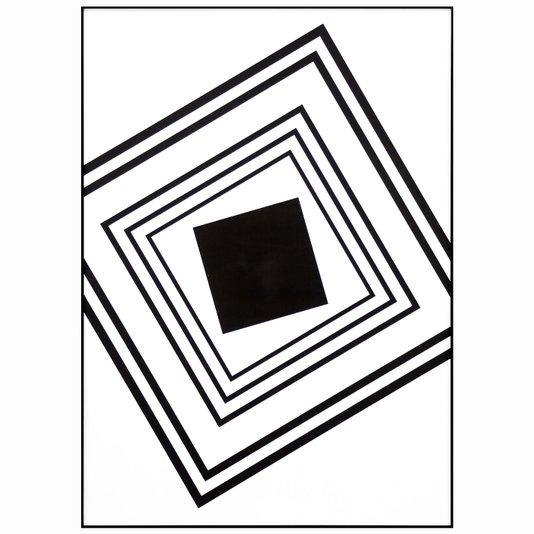 Quadro Geométrico Quadrados em Preto e Branco 50x70cm